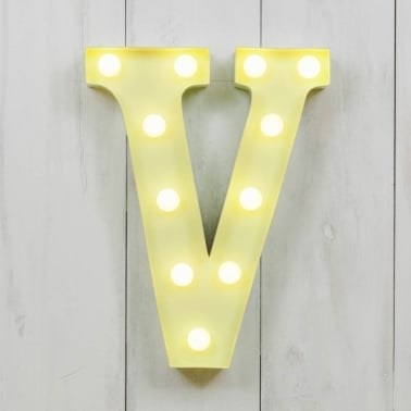 "Metal 11"" Mini L.E.D. Letter Lights V - Choice of Colour"