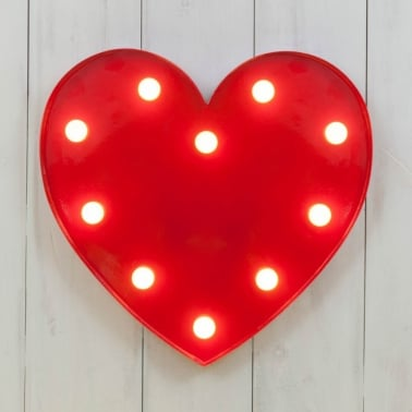 "Metal Red 13"" L.E.D. Heart Light"