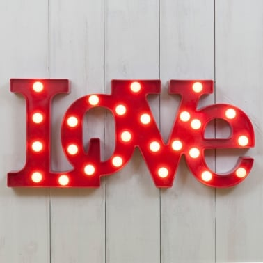 L.E.D. Plastic Light Up Love Sign