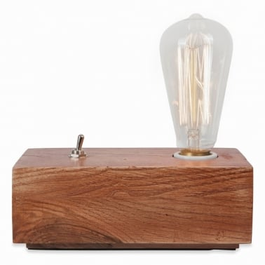 Vintage Style Wood Black Edison Table Lamp – Brown