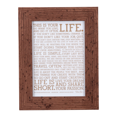 Original LIFE Manifesto Poster Gold Metallic Framed