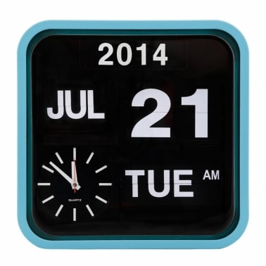 Retro Square Calender Flip Clock - Bright Blue