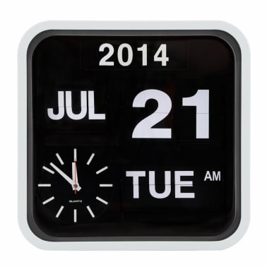 Retro Square Calender Flip Clock - White
