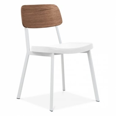 Hipster Chair White With White Faux Leather Seat