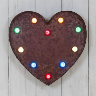 "Rustic Metal 13"" LED Heart Light"