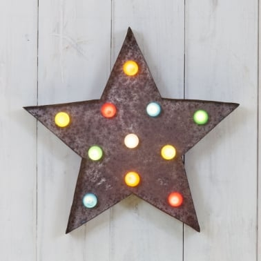 Metal L.E.D. Circus Light Rustic With Coloured Lights - Star