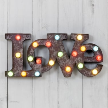 Metal L.E.D. Circus Light Rustic With Coloured Lights - Love