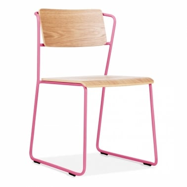 Tram Chair with Natural Wood Seat - Pink