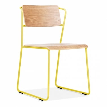 Tram Chair with Natural Wood Seat - Yellow