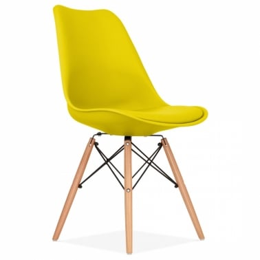 Yellow Dining Chair with DSW Style Wood Legs