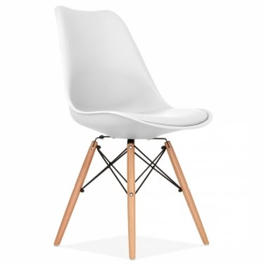 White Dining Chair with DSW Style Natural Wood Legs