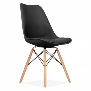 Black Dining Chair with DSW Style Natural Wood Legs