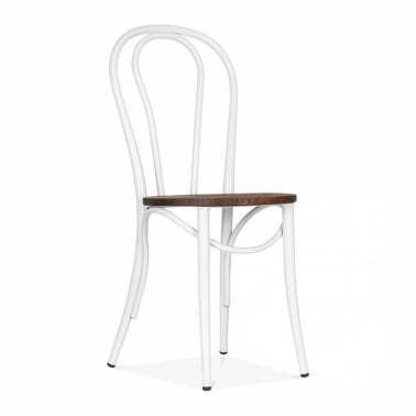 Bistro Chair with Wood Seat - White