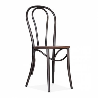 Metal Bistro Chair with Wood Seat - Raw Finish