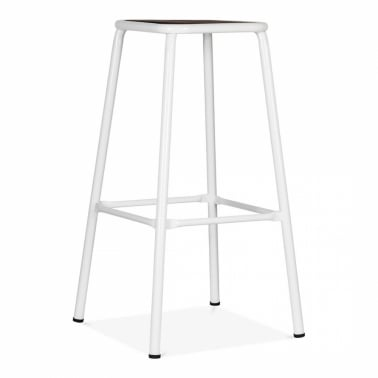 Brooklyn Stool - White with Wood Seat 75cm