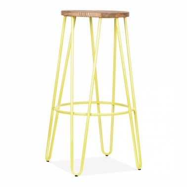 Hairpin Stool - Yellow with Natural Elm Wood Seat 76cm