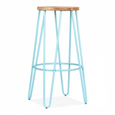 Hairpin Stool With Natural Elm Wood Seat - Light Blue 76cm