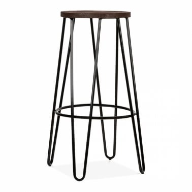 Hairpin Bar Stool with Wood Seat Option - Black 76cm