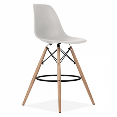 Eames Style DSW Stool with Backrest, Light Grey 71cm