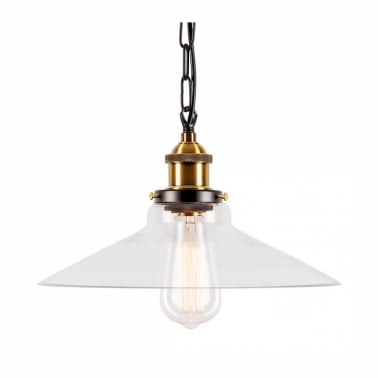 Industrial Strasbourg Glass Pendant Lamp With Chain Hang