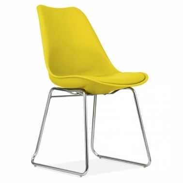 Yellow Dining Chairs with Soft Pad Seat