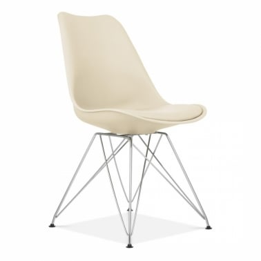 Cream Dining Chair with Eiffel Metal Legs