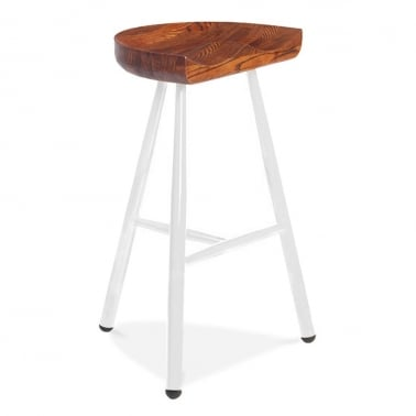 Dalston Bar Stool with Wood Seat - White 77cm
