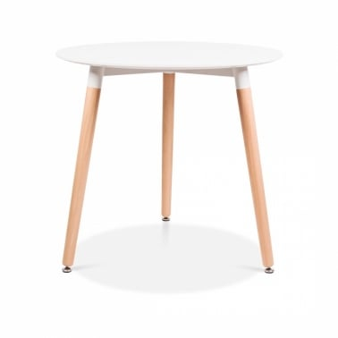 Edelweiss Table With Beech Wood Legs – Diameter 80cm
