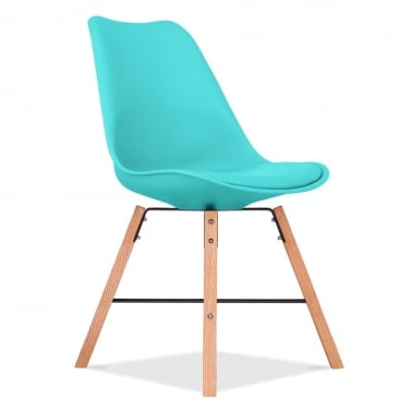 Soft Pad Dining Chair With Cross Brace Legs - Turquoise