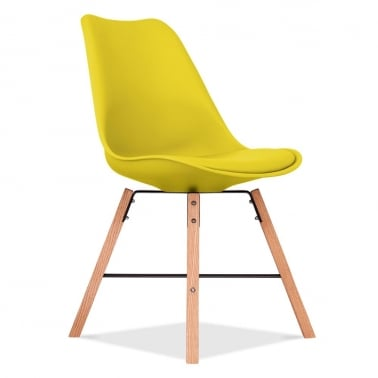 Soft Pad Dining Chair With Cross Brace Legs - Yellow