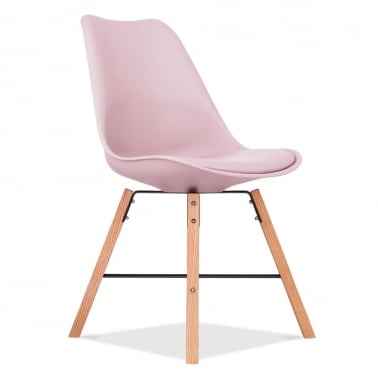Soft Pad Dining Chair With Cross Brace Legs - Pink