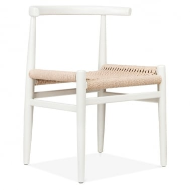 Nordic Chair With Weave Seat - White