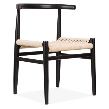 Nordic Chair With Weave Seat - Black