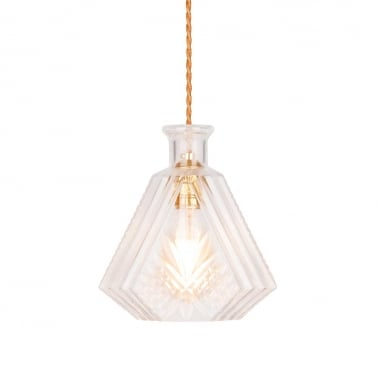 Whiskey Decanter Hanging Light - Clear / Gold