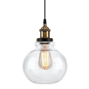 Factory Glass Globe Pendant Light - Copper / Clear