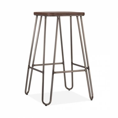 Hairpin Stool With Square Seat - Rustic 66cm