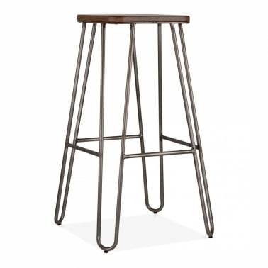 Hairpin Stool With Square Seat - Rustic 76cm