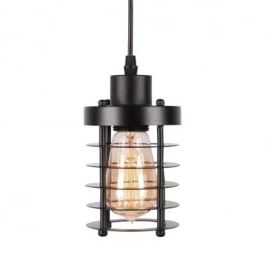 Industrial Harbour Black Caged Pendant Light