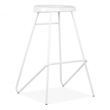 Borough Stool with Moulded Steel Seat - White 76cm