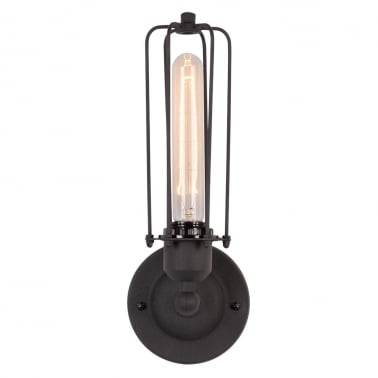 Caged Single Sconce Black Wall Light