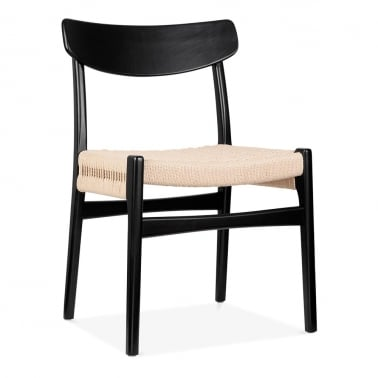 CH23 Wooden Dining Chair - Black / Natural Seat