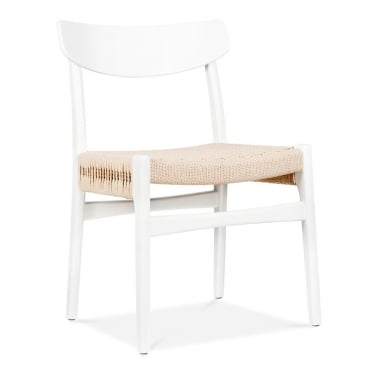 CH23 Wooden Dining Chair - White / Natural Seat