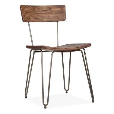 Hairpin Chair with Wood Seat - Gunmetal