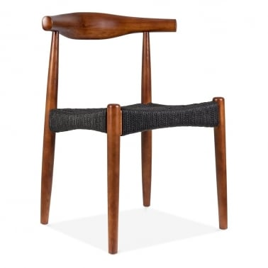 Elbow Chair With Weave Seat - Walnut With Black Seat