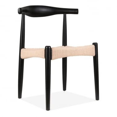 Elbow Chair With Weave Seat - Black With Natural Seat