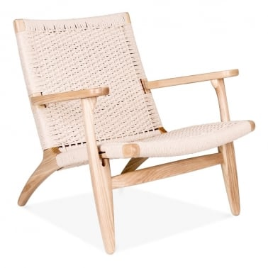 CH25 Style Lounge Chair – Natural / Natural Seat