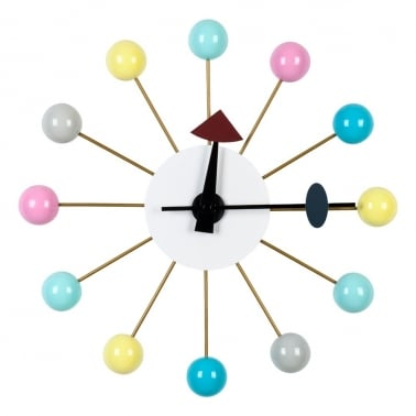 Ball Clock - Pastel Multi-Coloured