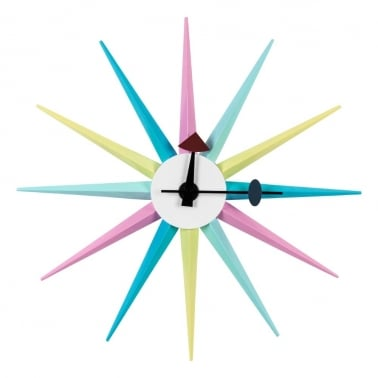 Sunburst Clock - Pastel Multi-Coloured