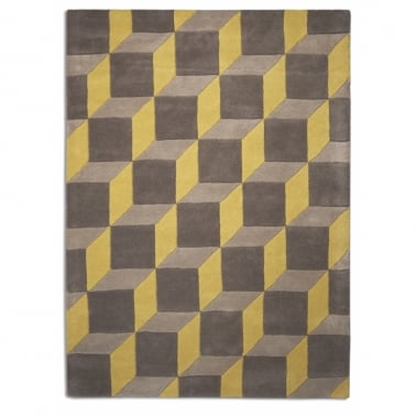 Geometric 3D Rug - Lemon/Grey