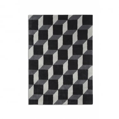 Geometric 3D Rug - Black/White